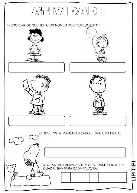 Atividades Snoopy Primeiro Ciclo Auto ditado, formação de frases e produção textual