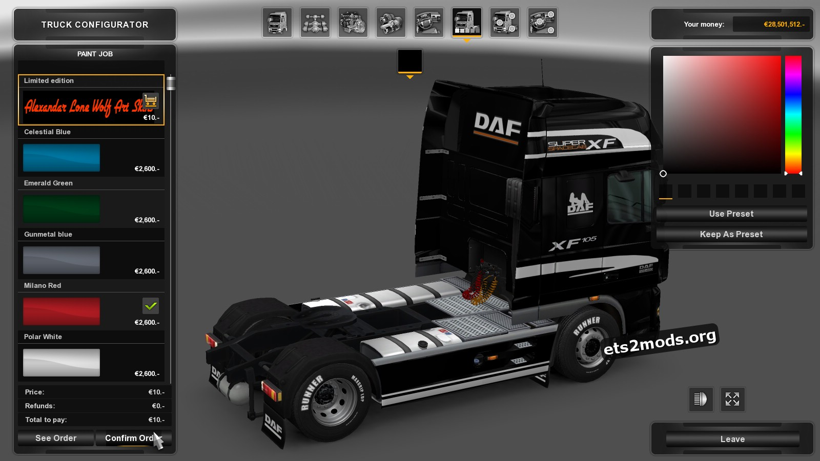 Limited Edition Skin for DAF XF Black version
