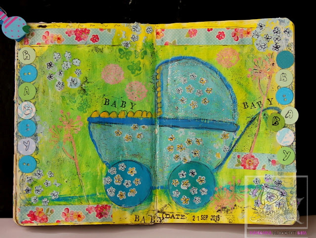 art journal page for a baby boy