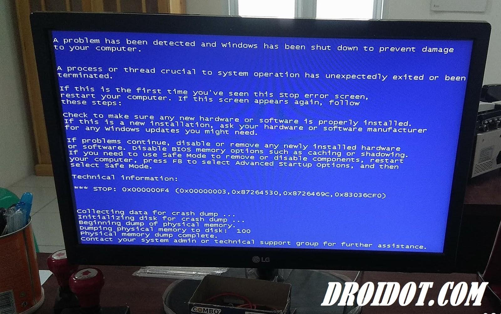 Cara Mengatasi Blue Screen Pada Laptop Atau PC