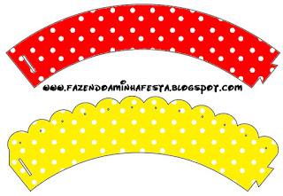 Wrappers para cupcakes de Rojo, Amarillo y Lunares Blancos.