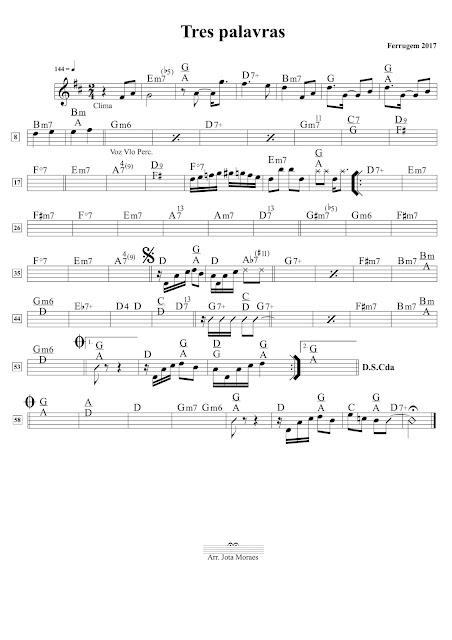 Ferrugem, partitura, tres palavras