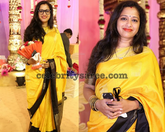 Sunitha Chowdary Yellow Silk Saree