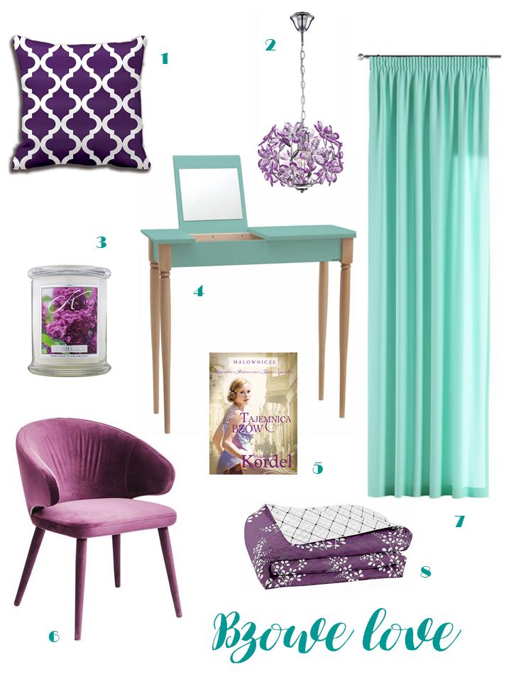 Zasłony miętowe fotel lila toaletka