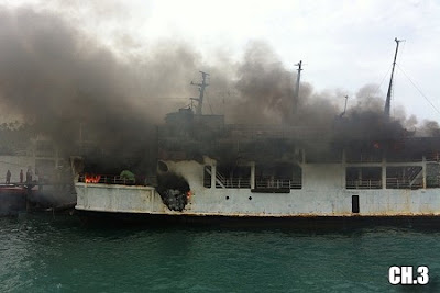 Raja ferry on fire at Lipa Noi