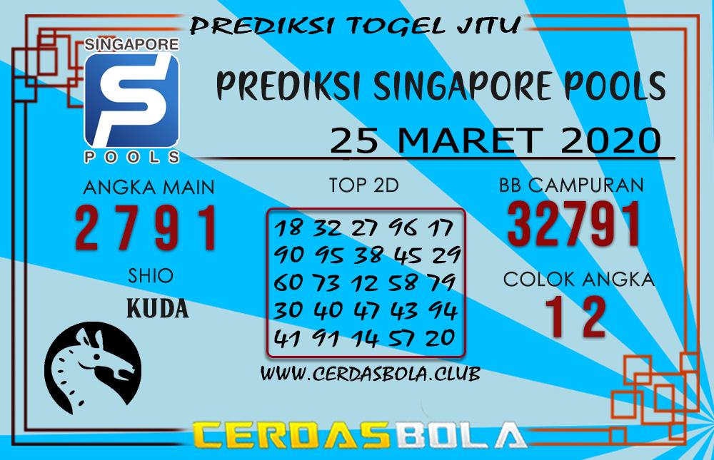 Prediksi Togel SINGAPORE CERDASBOLA 25 MARET 2020