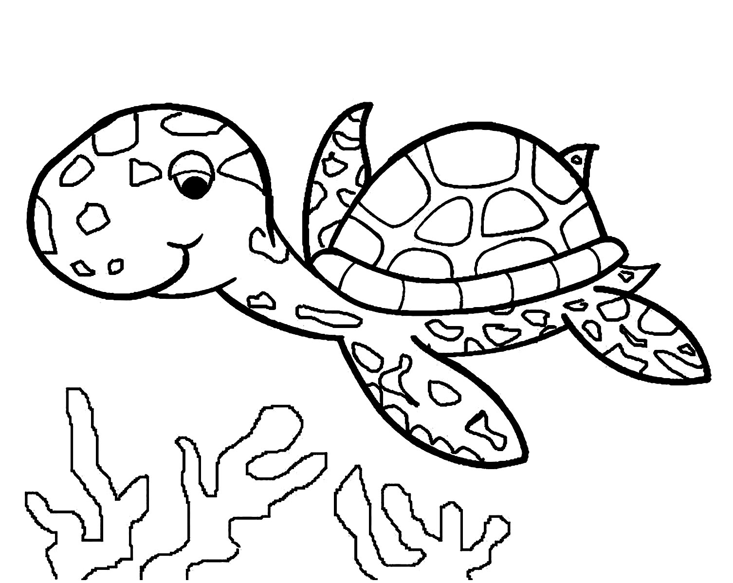 Tranh cho bé tô màu con rùa 1