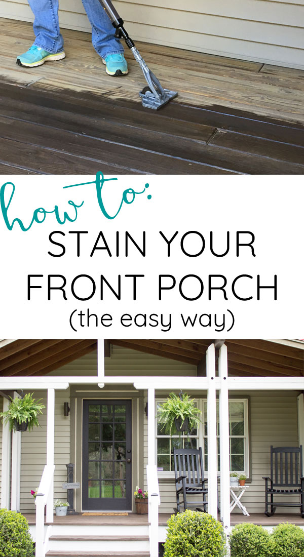 Using stain stick to update front porch