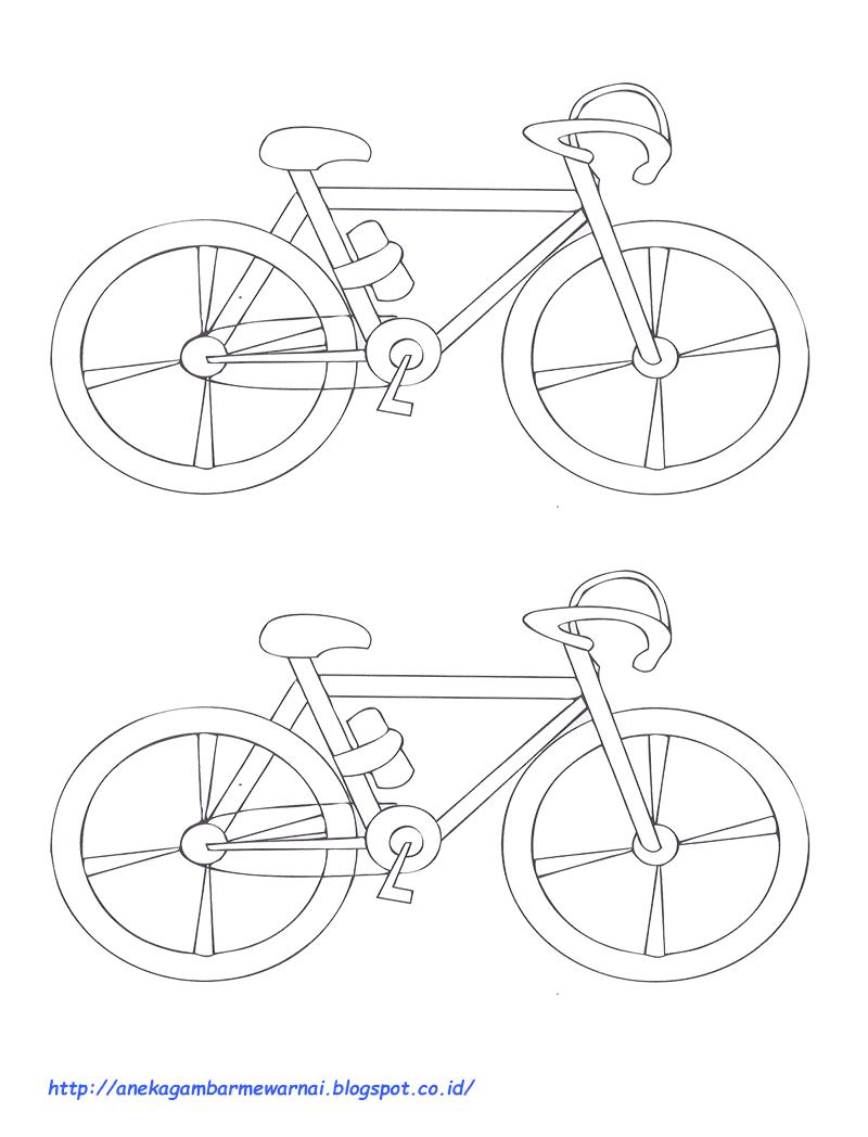 Gambar Mewarnai Sepeda Untuk Anak PAUD Dan TK Aneka Gambar Mewarnai