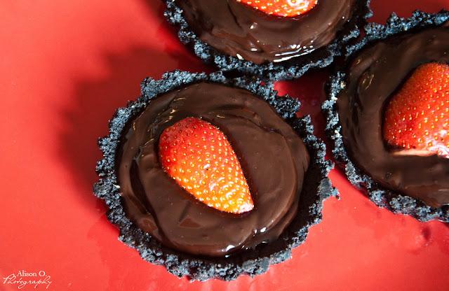 tartelette oreo chocolat beurre de cacahuète fraise