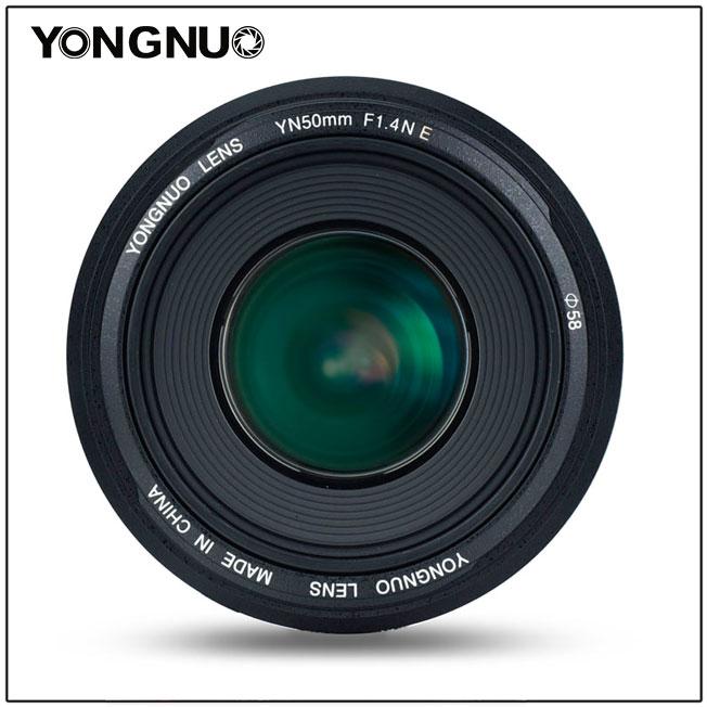 Объектив Yongnuo YN 50mm f/1.4N E, вид спереди