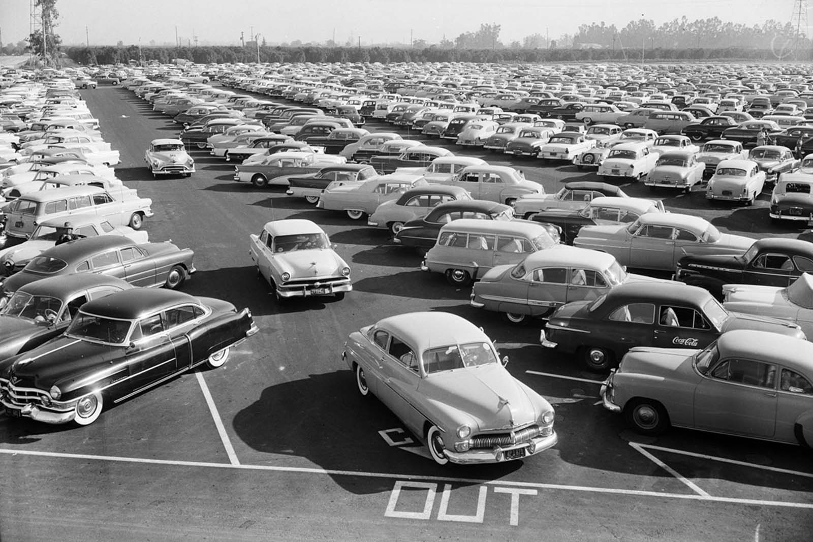 The Disneyland parking lot, full on opening day, July 17, 1955.