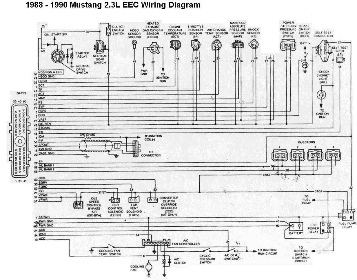 19881990 Ford Mustang 23L EEC Wiring Diagram | All about