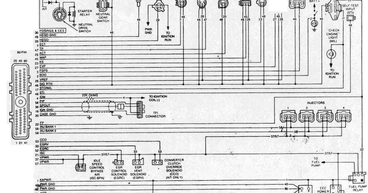 1988-1990 ford mustang 2.3l eec wiring diagram | all about ... wiring diagram for 1988 ford f700 #11