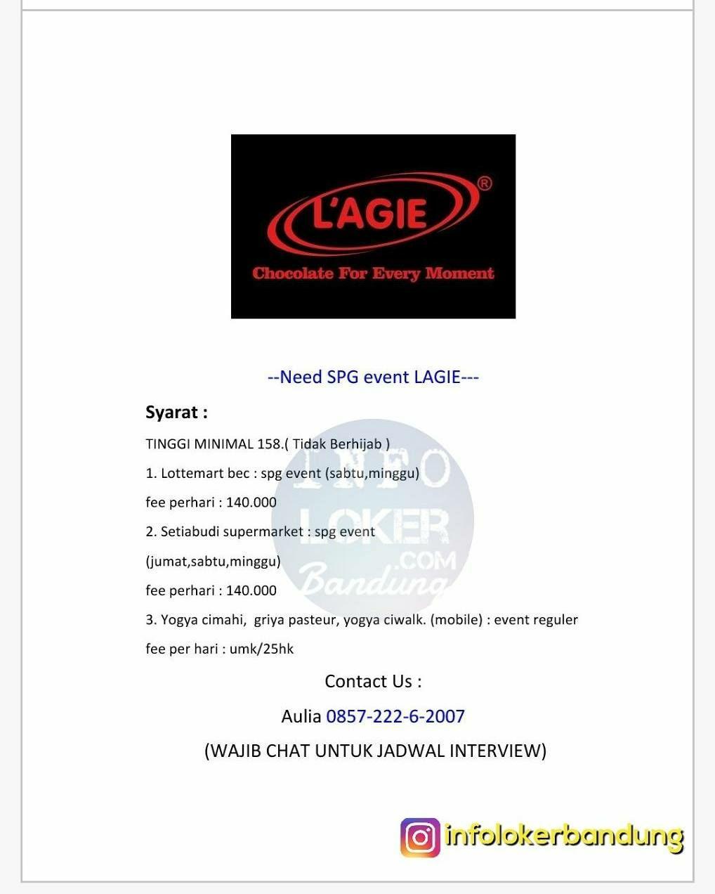 Lowongan Kerja SPG Event L'AGIE Bandung November 2017