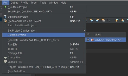 Set Main Project pada Netbeans IDE
