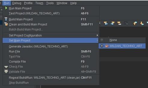 Set Main Project pada Netbeans IDE