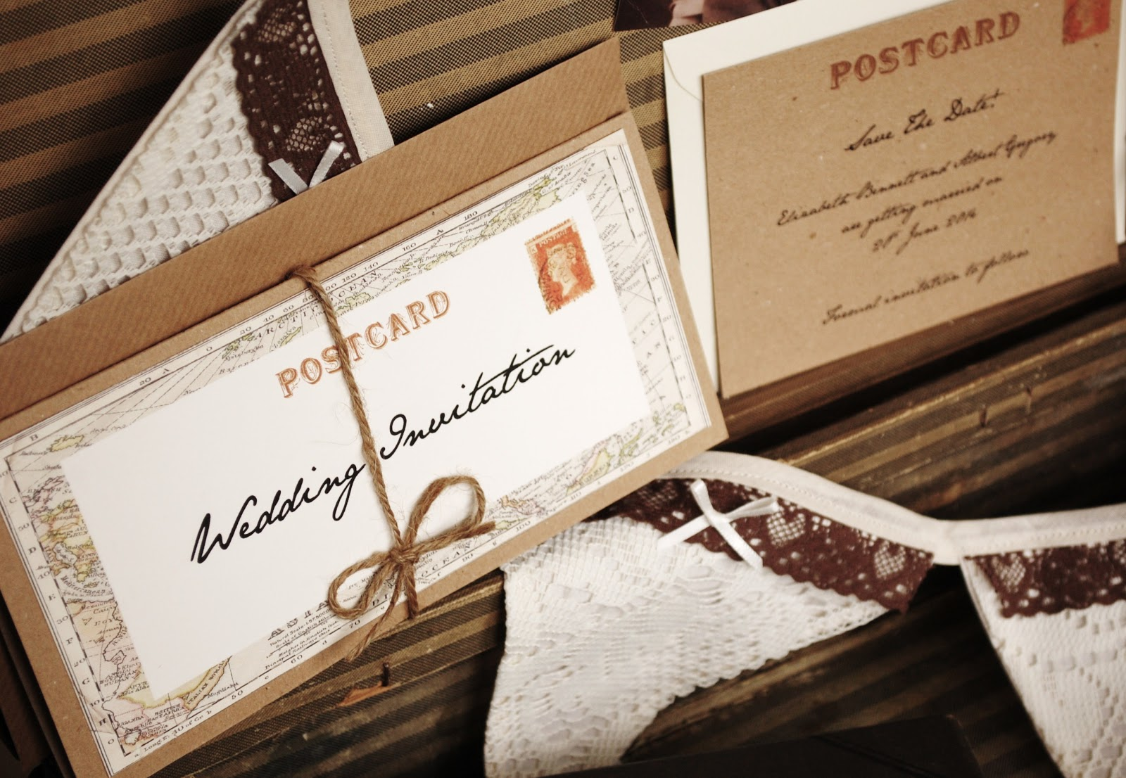 Vintage Printable Wedding Invitations: Vintage Twee: Map Out Your Wedding Journey Vintage Style