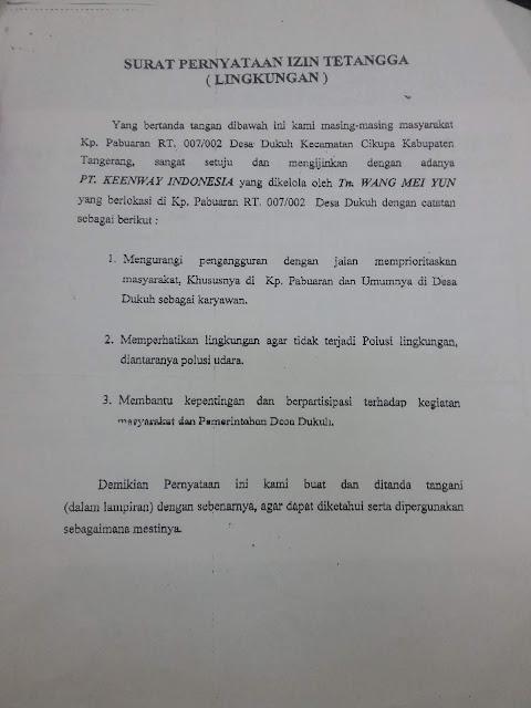 Surat Pernyataan Izin Lingkungan (izin Tetangga)