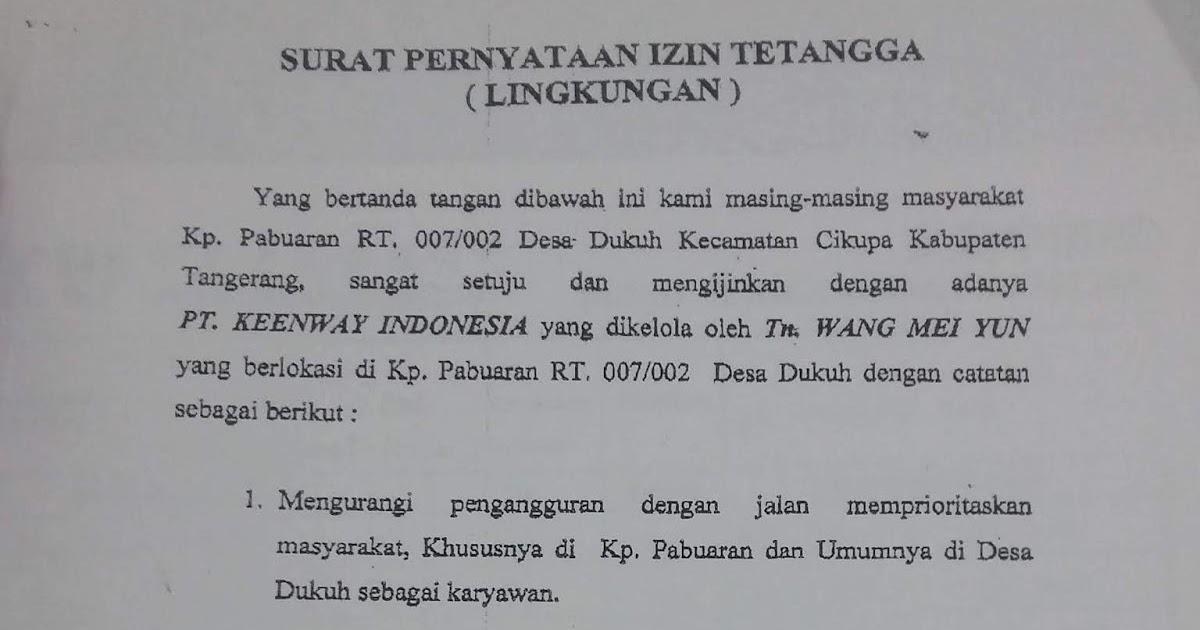 Surat Pernyataan Izin Lingkungan Izin Tetangga Blog Gado