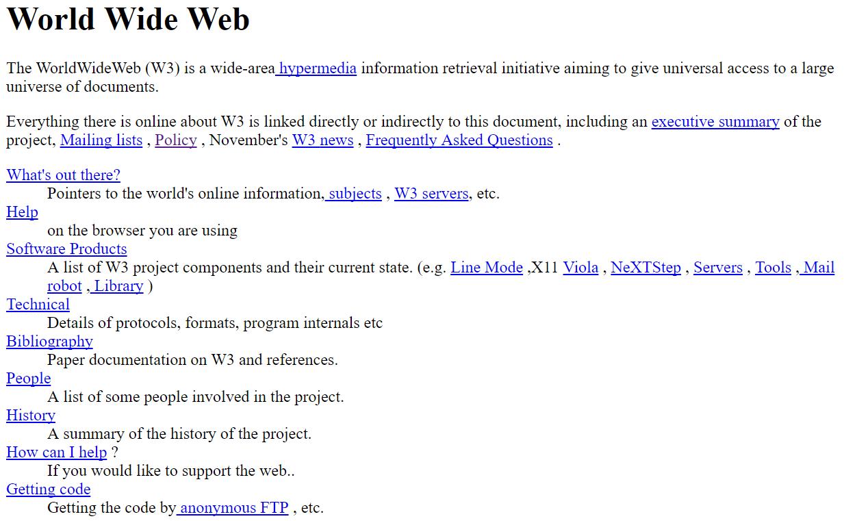 أول موقع الكتروني في الانترنت
