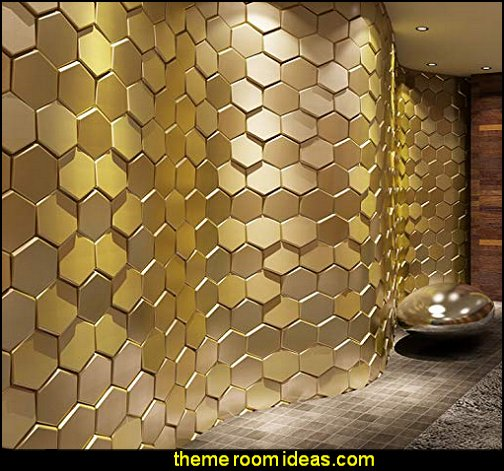 Golden Hexagon Decorative 3D Wall Panel Faux Leather Tile bumble bee bedrooms - Bumble bee decor - Honey bee decor - decorating bumble bee home decor - Bumble Bee themed nursery - bee wallpaper mural decals - Honeycomb Stencil - hexagonal stencils - bees in springtime garden bedroom -  bee themed nursery - black yellow bedroom ideas - Hexagon pattern -