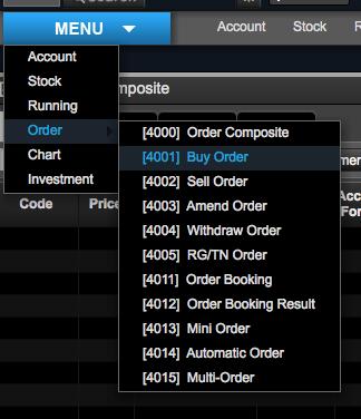 Menu Buy Order Saham DT NextG