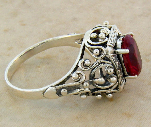 Antique Silver Ruby Ring