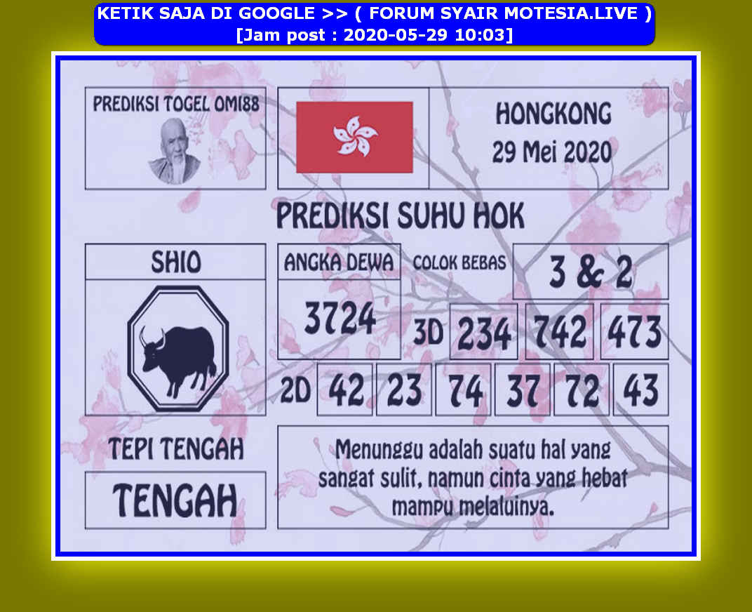 Kode syair Hongkong Jumat 29 Mei 2020 110