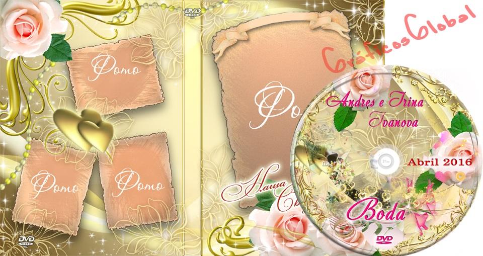 Plantillas psd dorado con rosas portada DVD