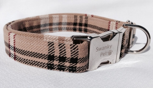Stylish 'Furr'berry Tan Plaid Dog Collar