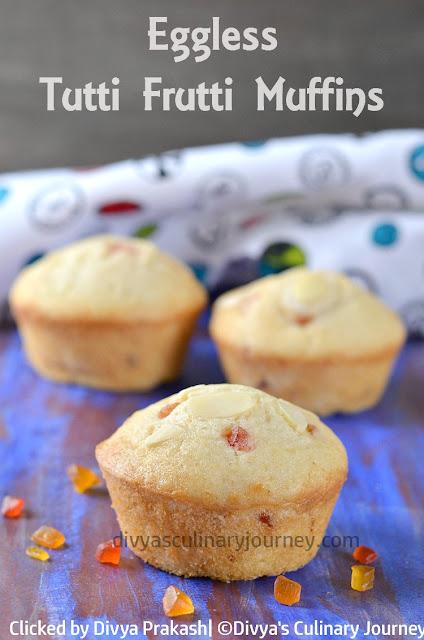 eggless tutti frutti muffins, muffins with tutti frutti