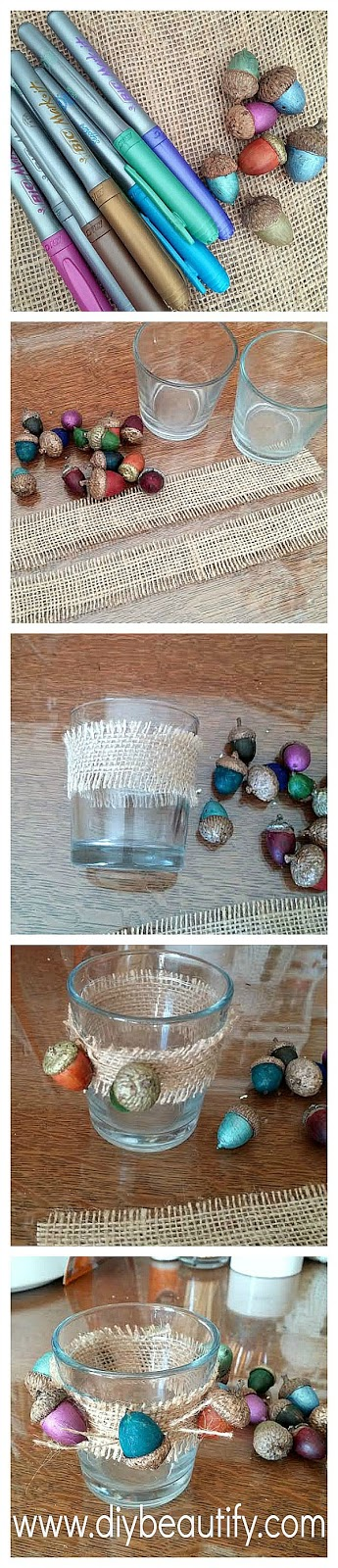 Easy DIY burlap wrapped votives with acorns DIY beautify blog