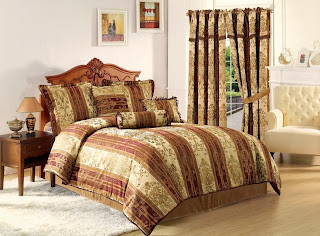 Cozy Beddings Vintage Stripe 7-Piece Comforter Set, Full, Gold/Burgundy