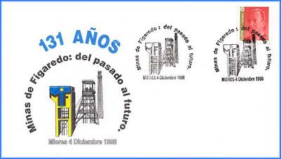 Sobre con matasellos del 131 aniversario Minas Figaredo, Grucomi, Mieres