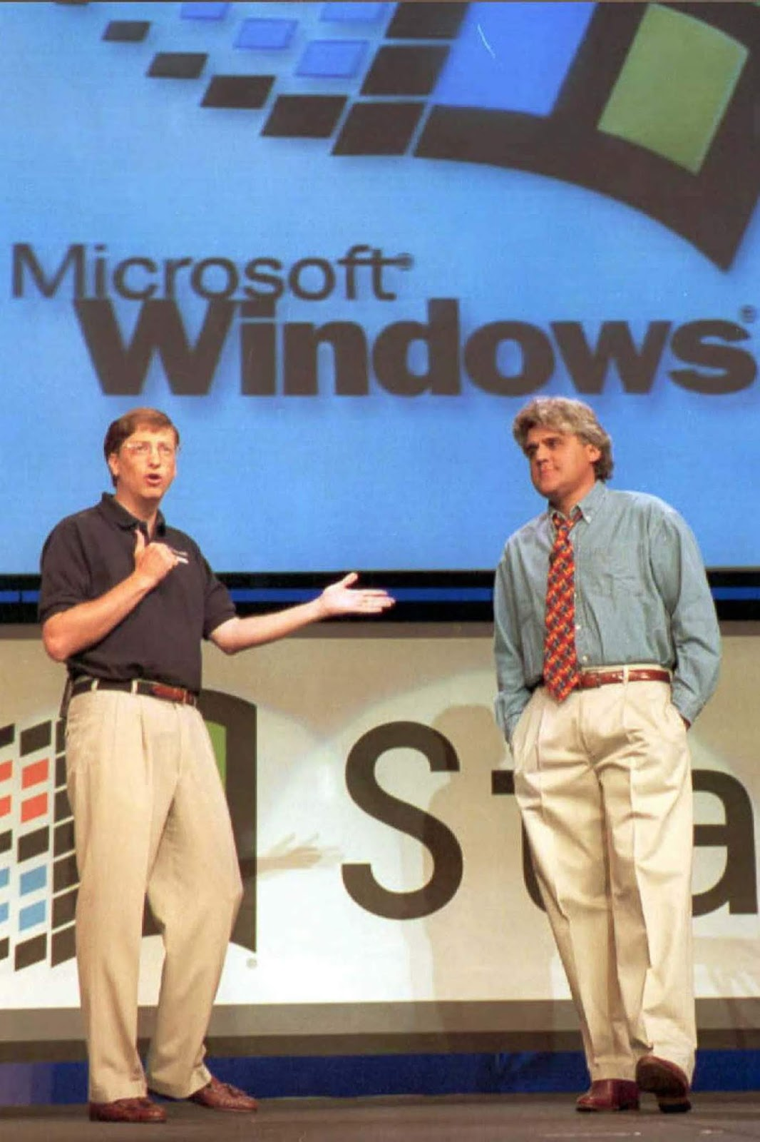 Bill Gates is joined by comedian Jay Leno at the Windows 95 kickoff event in Redmond, Washington.