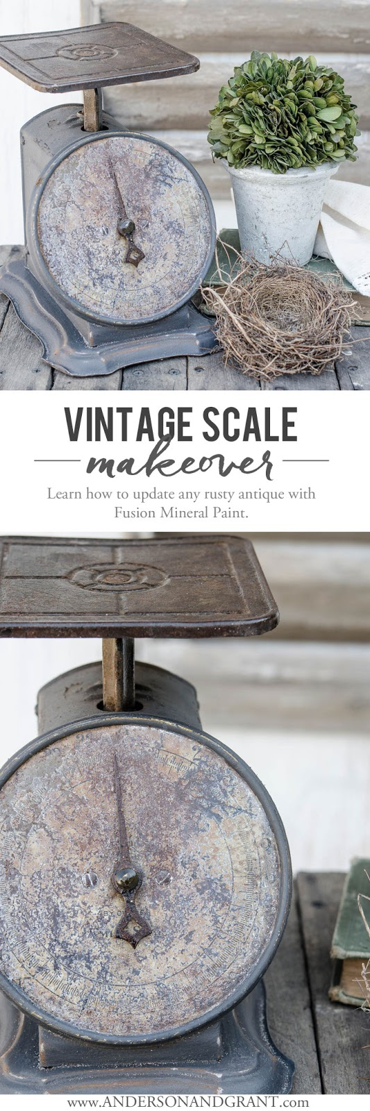 A rusty vintage scale is completely transformed using Fusion Mineral Paint.  Now it is perfect for my rustic farmhouse decorating.  |  www.andersonandgrant.com