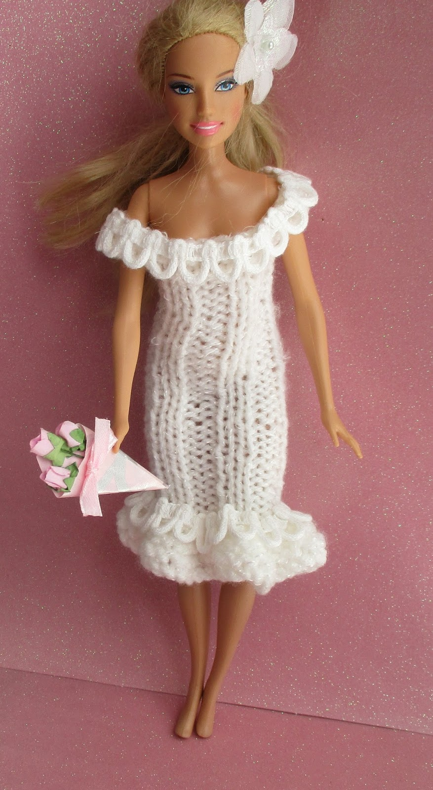Taffy Lass Knits: Glamour Wedding Dress for Barbie