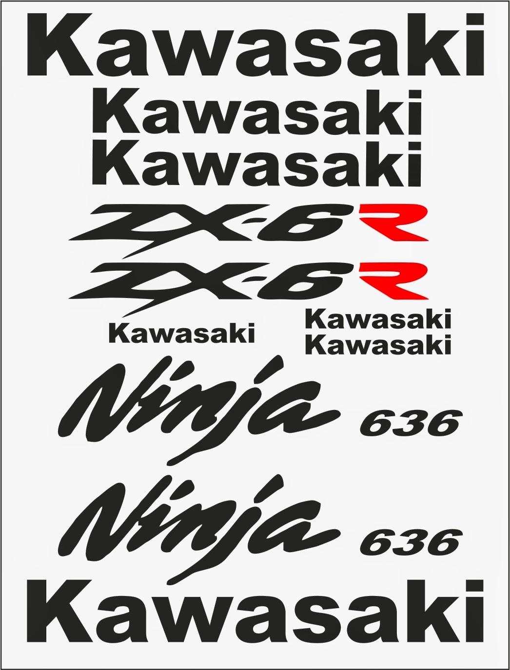 PEGAMAX 33 Adhesivos Para Motos: ADHESIVOS KAWASAKI ZX-6R 636