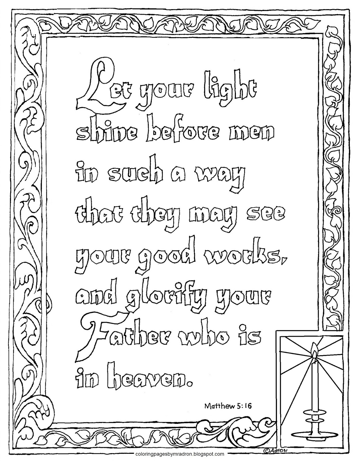 Coloring Pages For Kids By Mr Adron Printable Matthew 5 16 Let Your Light Shine Coloring Page