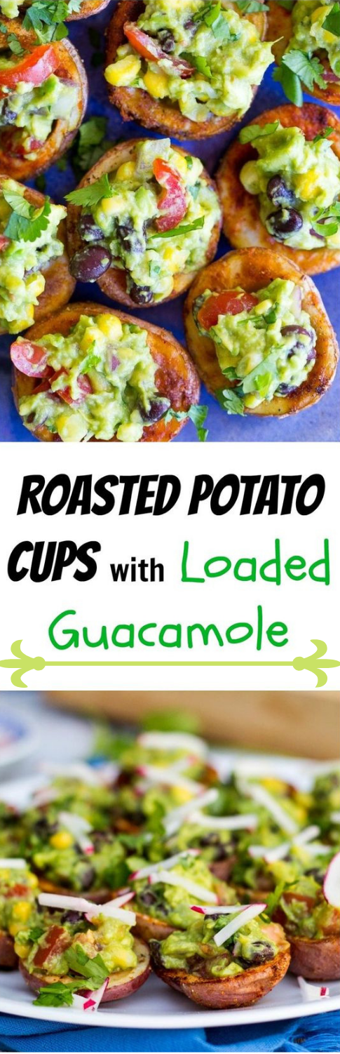 ROASTED POTATO CUPS WITH LOADED GUACAMOLE #potato #dinner
