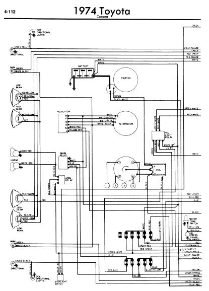 repair-manuals: Toyota Corona 1974 Wiring Diagrams