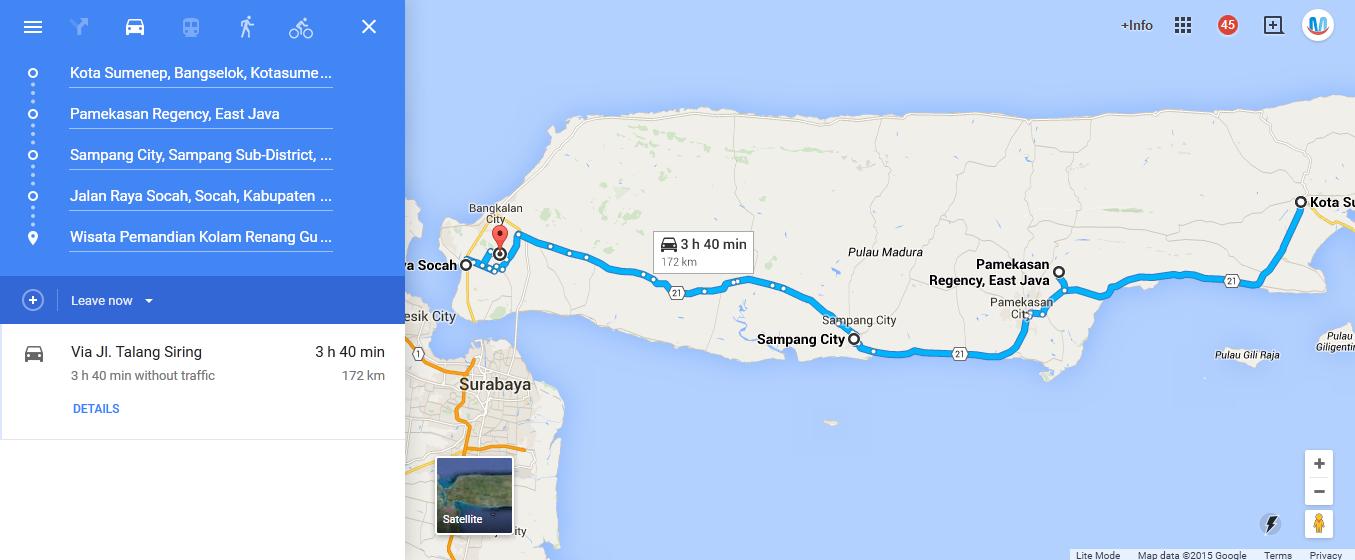 https://www.google.co.id/maps/dir/Sumenep,+East+Java/Pamekasan+Regency,+East+Java/Sampang+City,+East+Java/Jalan+Raya+Socah,+Socah,+Kabupaten+Bangkalan,+Jawa+Timur+69161/Wisata+Pemandian+Kolam+Renang+Guweh+Pote,+Jaddih,+Socah/@-7.1144292,113.2851129,11z/data=!4m17!4m16!1m2!1m1!1s0x2dd9e681188ea6e3:0x4027a76e3cdb720!1m2!1m1!1s0x2dd9d6b50c056771:0x3027a76e3cd8a80!1m2!1m1!1s0x2dd786e5eb230b75:0xa17fd25920a543ed!1m2!1m1!1s0x2dd806a645a37517:0xa95e54872835eb06!1m2!1m1!1s0x2dd8045ec63038ad:0x33e8652ea5f91037!3e0
