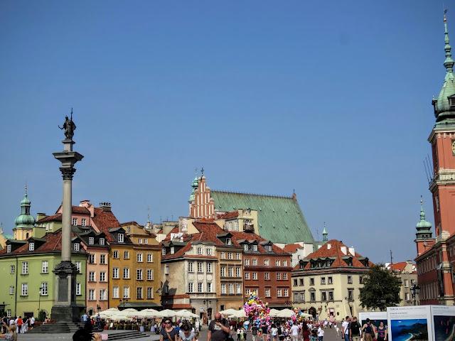 Sigismund's Column and Old Town in Warsaw, Poland