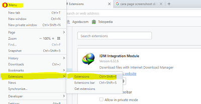 Agar Internet Download Manager (IDM) terintegrasi di Opera