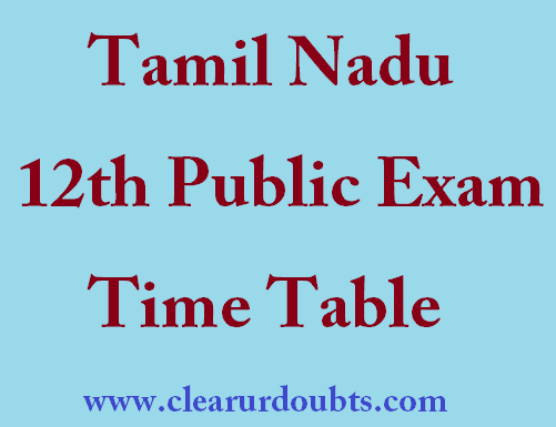 Tamilnadu 12th Timetable 2017