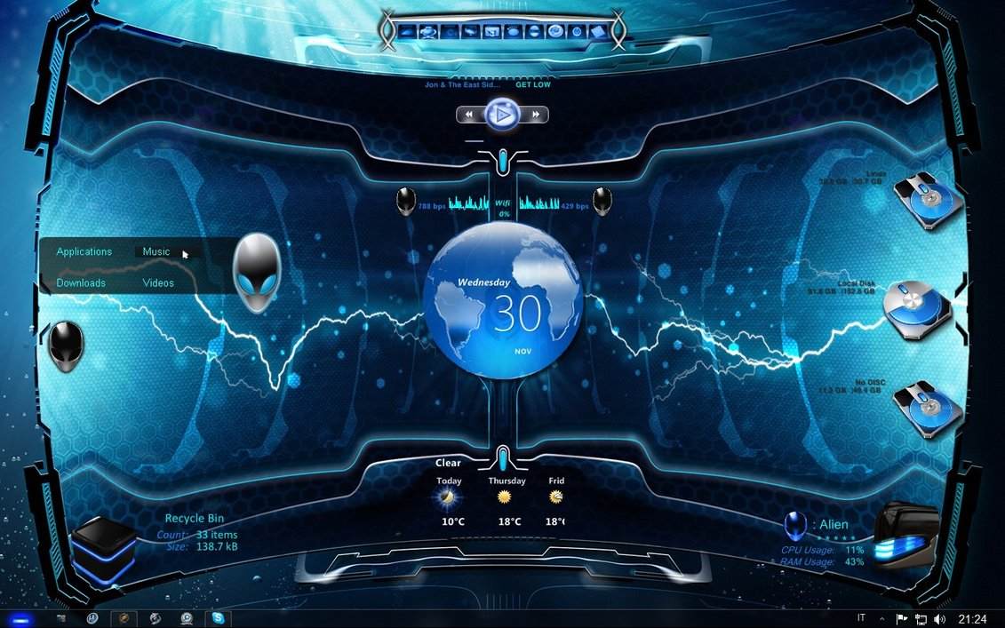 Top 5 inspiring windows 7 themes for Hackers
