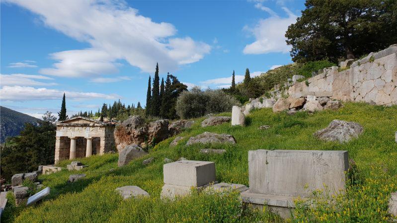 Schatzhaus der Athener in Delphi Griechenland