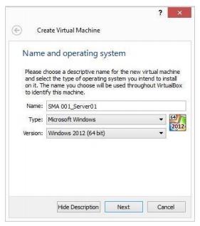 Window untuk Memberi Nama dan Memilih OS  Virtual Machine