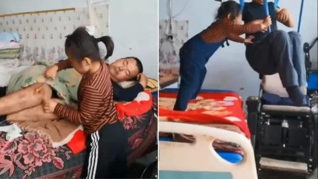 Masyaallah, Ditelantarkan Ibu, Bocah 6 Tahun Ini Rela Rawat Ayahnya Yang Lumpuh Sendirian